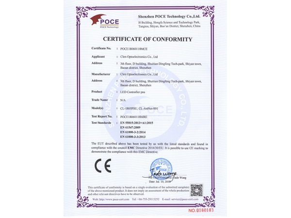 LED Controller psu CE certifications